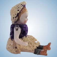 Gorgeous Miniature Antique German Bisque Doll. Dolls House Size.