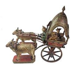 Very Rare South Asian Polychrome Bullock Carriage. 19th Century.