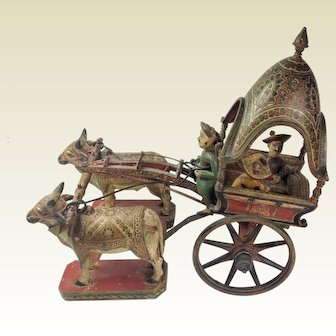 Very Rare South Asian Polychrome Bullock Carriage. 19th Century.