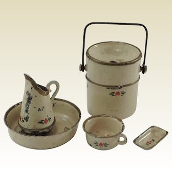 Adorable Old Tin Plate, Doll House Toilet Set. Wash Set. 5 Pieces. C.1900