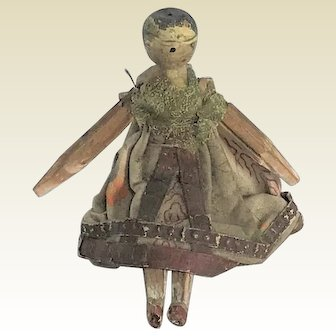 Fabulous Early 19th Century Grodnertal Wooden Peg Doll. C. 1820/1830