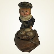 Victorian Cold Painted Inkwell. Young Boy and Birds Nest of Eggs.