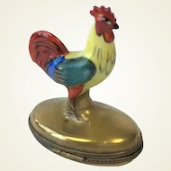 Limoges France Trinket/Pill Box Cockerel Hand Painted Rooster.