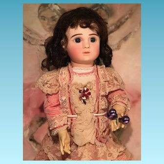 Early Pressed Bisque  Doll  Steiner Jules Paris Antique ORIGINAL French Porcelaine Bisque Head 25 Inches