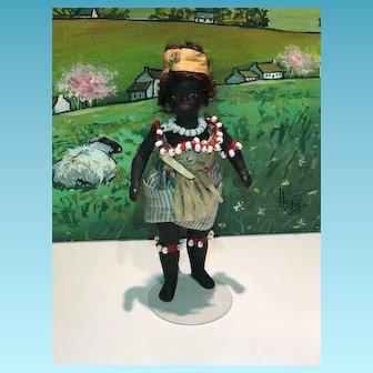 Rare Miniature exotique all bisque black French Mignonette, bare feet size  13 cm 5 inch