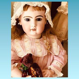 French PARIS Tete Jumeau open mouth Bisque Head doll 85 cm