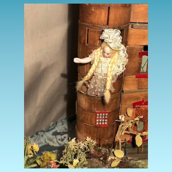 Amazing antique french all bisque musical moving automaton Rapunzel