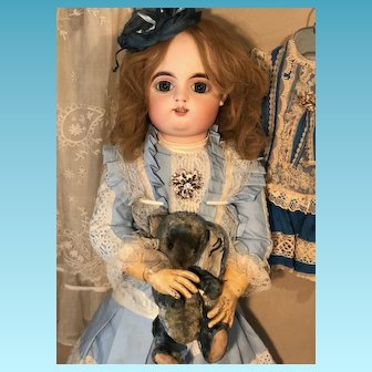 """Very beautiful 27"""" ( 75cm ) French bisque Bebe by Gaultier size 13 rare expression , original body and silk costume"""