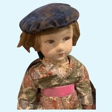 French Doll Woolen Head. Original Condition Leather Shoes.