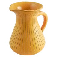 WK Wilhelm Kagel West German Mustard Yellow Pottery Pitcher — Mid Century Modern
