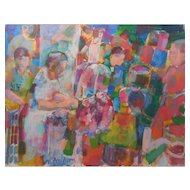 "LISTED ARTIST Don Bloom (American) ""Market In Israel"" MODERNIST Style — Oil on Canvas"
