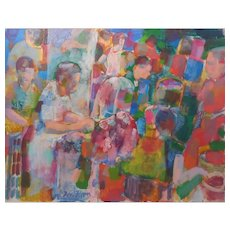 """Don Bloom (American) """"Market In Israel"""" MODERNIST Style — Oil on Canvas, LISTED ARTIST"""