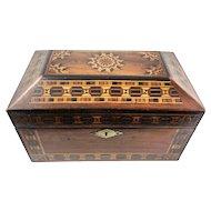 FINE Antique Russian Marquetry Jewelry Treasure Box