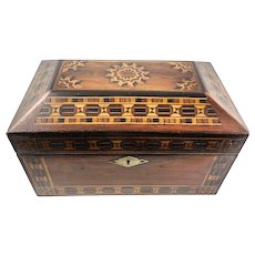 FINE Antique Russian Marquetry Jewelry Treasure Box