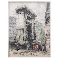 "LISTED ARTIST Franz Xavier Wolf (Austrian, 1896-1990), ""Paris Port ST. Denis"" — Colored Etching"