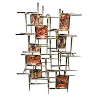 Brutalist Design Cut Nail & Hammered Copper Wall Sculpture — Mid Century