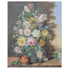 Karl Heiner (Austrian, 19th/20th Century) Floral Still Life Within Landscape Painting — Oil on Canvas, LISTED ARTIST