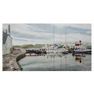 "LISTED ARTIST James (Jas) Wallace (British 1925 -) Entitled ""Crinan"" Scotland Harbour Scene Painting — Watercolor— Newman Galleries"