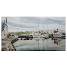 """James (Jas) Wallace (British 1925 -) Entitled """"Crinan"""" Scotland Harbour Scene Painting — Watercolor— Newman Galleries, LISTED ARTIST"""