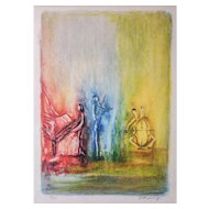 "LISTED ARTIST Yosef (Joseph) Kossonogi (Israeli) ""Trio"" Limited Edition Color Lithograph, Signed and Numbered"
