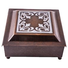 Heintz Art Metal Shop Art & Crafts Sterling Silver On Bronze Hinged Cigarette Box, c. 1920s — 4050, GREAT BROWN PATINA