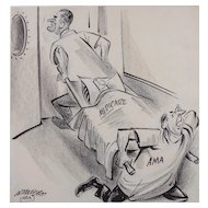 """President Lyndon B. Johnson Original Political Cartoon Illustration by William Crawford (American 1913-1982) — MEDICARE - AMA, """"Is There A Doctor In The House"""""""