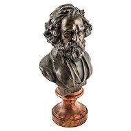 Rare A.C. McClurg Co. Solid Bronze Cabinet Bust of Longfellow on Circular Marble Base — c. 1897