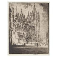 "LISTED ARTIST Joseph Pennell (American 1857-1926) ""The West Front, Rouen Cathedral"" —Etching, c.1907, PAFA Artist"