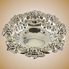Frank M. Whiting Sterling Silver REPOUSSE Nut or Bon Bon Bowl, Baroque Floral Pattern #394, Antique c.1900