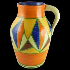 """LARGE Bizarre By Clarice Cliff Art Deco Geometric Pattern """"Lotus JUG"""" Single-Handled Hand Painted, Newport Pottery England, c. late 20s-mid 30s"""