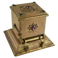 Ornate Six Jeweled Gold Ormolo Mechanical Cigarette Dispenser by The Art Metal Works, Newark NJ