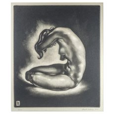 "LISTED ARTIST Reynold H. Weidenaar A.N.A. (American, 1915-1985). Nude ""REVERIE"" Mezzotint — c.1950"