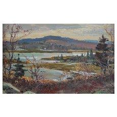 "Wayne Beam Morrell (American, 1923-2013) ""Warm Winter Light"" Landscape Painting — Oil on Masonite — Accomplished / Liasted NJ / Mass Artist"