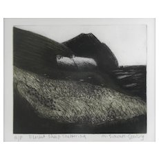 "Maria Simonds-Gooding (Irish, 1939). ""Blanket Sheep Sheltering"" Etching — AP, LISTED MODERNIST ARTIST"
