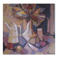 "Isaac Maimon (French, Israeli, 1951) ""LUMINOUS STILL LIFE"" — Acrylic on Canvas, Well LISTED Modernist Artist"