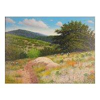 "Manuel Garza (American, 20th Century) ""Wildflowers"" ""Plein Air"" Landscape Painting — Oil on Canvas, LISTED Texas ARTIST"