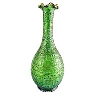 Loetz Art Nouveau Metallic-Green Chiné Tall Threaded Glass Vase With Gold Trim — c. Late 19th Century