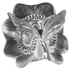 """Sculptural """"Anemones"""" Candle Holder by Lalique France — Three-sided, Clear Crystal"""