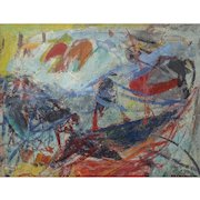 "Morris Shulman (American, 1912-1978), FINE Abstract Expressionist Painting, Casein on Paper, ""Untitled"" c. 50s-60s — WELL LISTED, MOMA Exhibited"