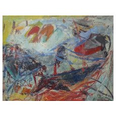 """Morris Shulman (American, 1912-1978), FINE Abstract Expressionist Painting, Casein on Paper, """"Untitled"""" c. 50s-60s — WELL LISTED, MOMA Exhibited"""