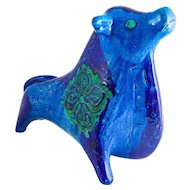 "Bitossi Ceramiche ""Bull Sculpture"", Aldo Londi Designed, Rimini Blue Flower Pattern, c. 1965, Italian — Mid Century"