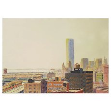 """Ray Ciarrochhi (American, 1933) Original Monoprint """"Manhattan Afternoon"""" WELL LISTED, Collected and Exhibited — Abstract-Expressionist"""