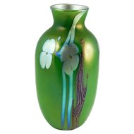 Orient & Flume EARLY c.1975 Art Nouveau Floral Art Glass Vase In Silver-Luster Iridescent Greens, Golds, Blues, Browns — American, Signed & Dated