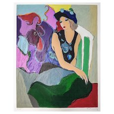 Itzchak Tarkay (Israeli, 1935-2012) Seated Woman in Blue Hat, Textured Serigraph on Fine Paper — Pencil Signed, AP 22/35