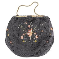 Paris France Black Caviar Beaded Purse, Evening Bag — Hand Embroidered in Silk with Floral Design — 1920s