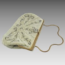 French White Caviar Beaded Purse, Evening Bag, Jorelle — Handmade Floral Design — 1920s