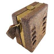 Art Deco Carnival Glass Copper Bronze Beaded Box Shaped Purse/Handbag, Signed Du Bonnette — Hand Beaded c.1940s