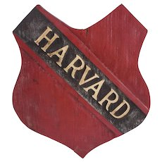 HARVARD University Hand Carved Wooden Shield — One-of-a-Kind, c 1920s, RARE
