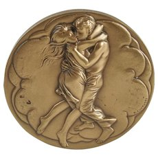 """""""Young Lovers"""" """"Mother & Child"""" Scuptural Solid Bronze Medallion by Bruno Lucchesi  — Society of Medalists — 92nd Issue"""