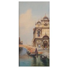 """Eugenio Benvenuto (Italian, 1847-1914) Exceptional Watercolor of """"Venice"""" Seascape, WELL LISTED, Highly Collected ARTIST"""